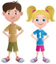 Boy and girl cartoon no transparency used basic linear gradients Stock Photography