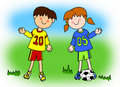 Boy and girl cartoon soccer player Royalty Free Stock Image