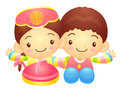 Boy and girl character couples are welcome to sit korea traditi traditional cultural design series Stock Photography