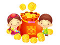 A boy and a girl character in a lucky bag korea traditional cu cultural design series Royalty Free Stock Images