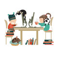 Boy and girl chating on the internet vector illustration Stock Image