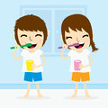 Boy and girl clean tooth brush activity daily cute cartoon vector Royalty Free Stock Photo