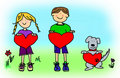 Boy, girl, and dog cartoon holding heart shape Royalty Free Stock Photography