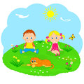 Boy girl and dog on a green medow with flower illustration vector Stock Photo