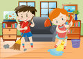 Boy and girl doing chores in the house