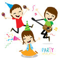 Boy and Girl Enjoy Party Cute Cartoon Vector Royalty Free Stock Photo