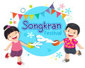 Boy and girl enjoy splashing water in songkran festival thailand vector illustration of Royalty Free Stock Photography
