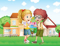 A boy and a girl exchanging gifts in front of the village illustration Royalty Free Stock Photo