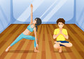 A boy and a girl exercising inside the studio illustration of Royalty Free Stock Photography