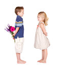 A boy and a girl with flowers Royalty Free Stock Photo