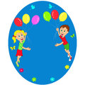 Boy and girl flying in balloons illustration vector Royalty Free Stock Photo