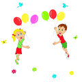 Boy and girl flying in balloons on a white background illustration vector Stock Photography