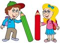 Boy and girl with giant crayons Stock Images