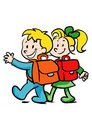 Boy and girl going to school Stock Image