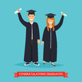 Boy and girl graduates.Vector illustration.