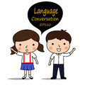Boy and girl greet waving hand ,place you conversation Royalty Free Stock Photo