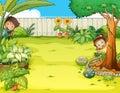 Niño y chica abrigo en jardín
