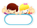Boy and girl is holding a big board education and life characte character design series Stock Images