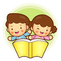 Boy and girl is holding a big book education and life character design series Royalty Free Stock Images