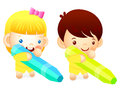 Boy and girl is holding a big crayons education and life charac character design series Stock Photography