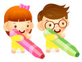 Boy and girl is holding a big crayons education and life charac character design series Stock Images