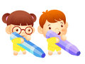 Boy and girl is holding a big crayons education and life charac character design series Royalty Free Stock Photo