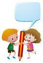 Boy and girl holding giant pencil Royalty Free Stock Photo