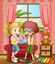 A boy and a girl holding gifts inside the house illustration of Stock Images