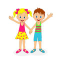 Boy and girl holding hands and waving their hand Royalty Free Stock Photo
