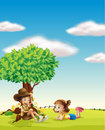A boy and a girl illustration of in beautiful nature Royalty Free Stock Images