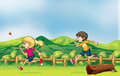 A boy and a girl jogging illustration of Royalty Free Stock Image