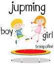 Boy and girl jumping on trampoline Royalty Free Stock Photo