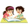 Chlapec a študenti štúdium robiť ich domácu úlohu spoločne