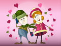 Boy and girl in love among hearts on pink background wearing bright winter clothes holding hands Royalty Free Stock Photo