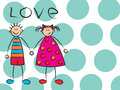Boy + girl = love on turquoise Stock Photography