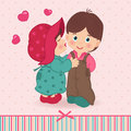 Boy and girl love vector illustration little kissing Royalty Free Stock Photography