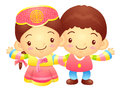 The boy and girl mascot has been welcomed with both hands korea traditional cultural character design series Stock Photos