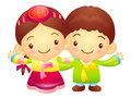 The boy and girl mascot has been welcomed with both hands korea traditional cultural character design series Royalty Free Stock Image
