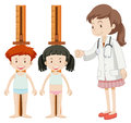 Boy and girl measuring height