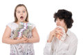 Boy and girl with money Stock Photos