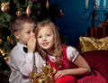 Boy and girl near Christmas tree Stock Images