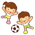Boy and girl is playing football education and life character d design series Stock Photography
