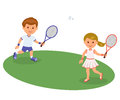 Boy and girl playing on the lawn badminton. Isolated vector illustration happy kids playing badminton. Sports lifestyle