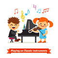 Boy and girl playing music on piano violin kids classical together in a musical class flat vector cartoon illustration Royalty Free Stock Photo