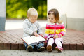 Boy and girl reading book Royalty Free Stock Photo