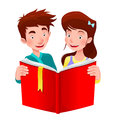 Boy and girl are reading a book cartoon vector illustration Royalty Free Stock Photography