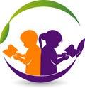 Boy and girl reading book logo