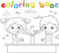 Boy and girl reading book together. Vector illustration for chil