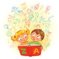Boy and girl reading a magic book in the come to life images vector illustration isolated on white background Stock Photography