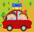 Boy and girl in red car illustration of cute Stock Photography